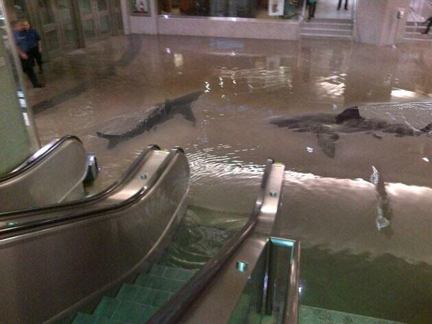 Потоп в метро Лондона.