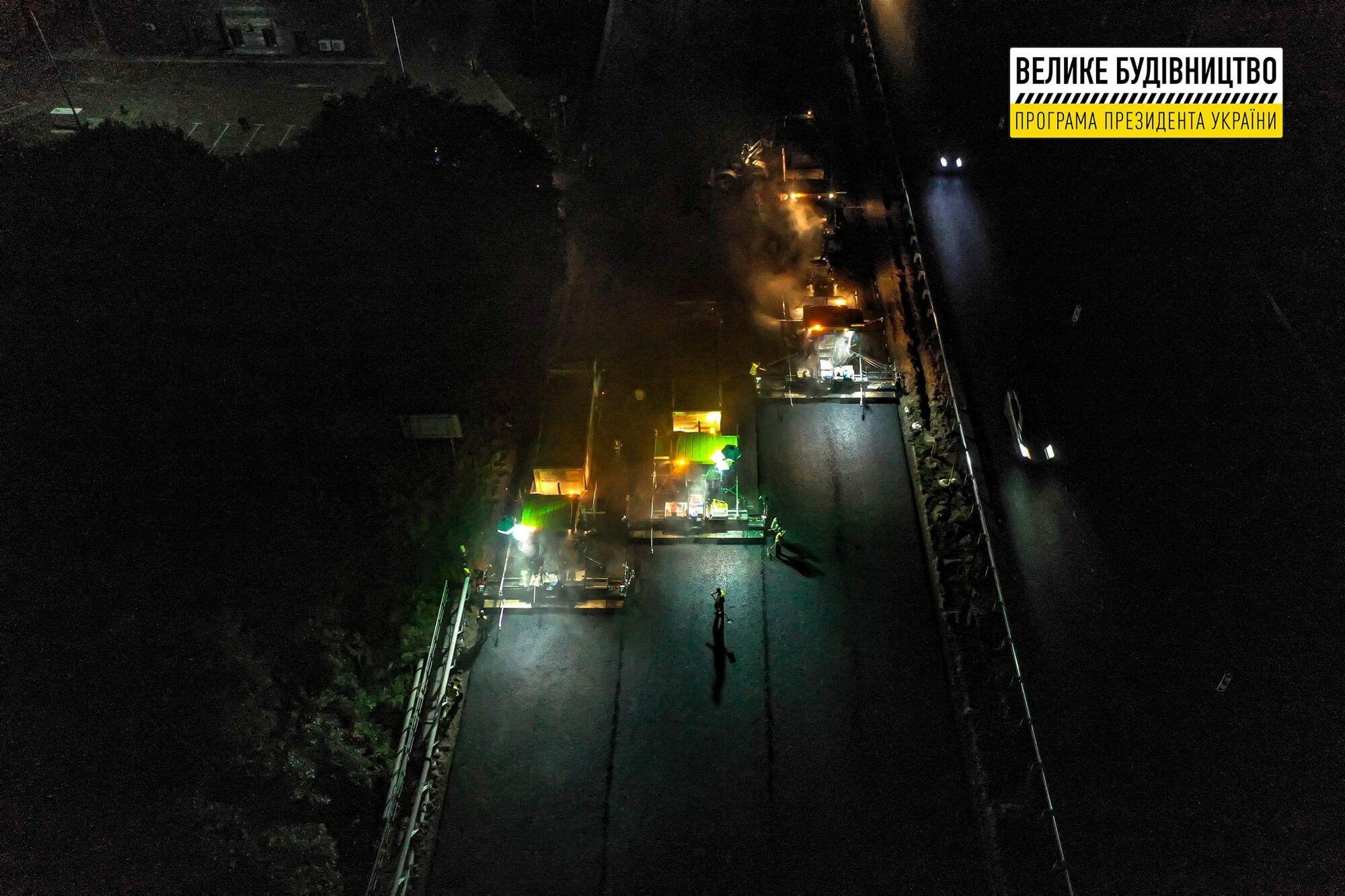 Обновление трассы Киев-Борисполь ведется в круглосуточном режиме