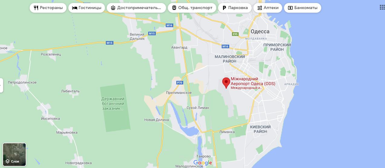 Одесский аэропорт на карте