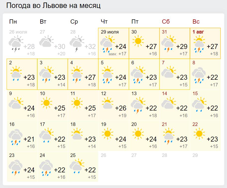 Погода во Львове в августе.