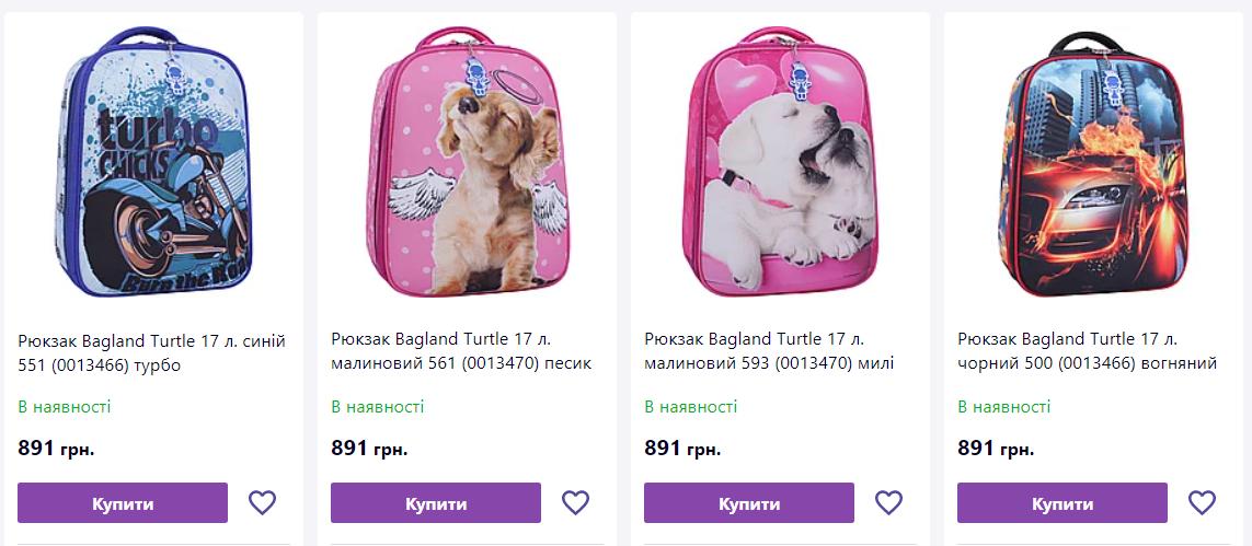Ціни на шкільні рюкзаки.