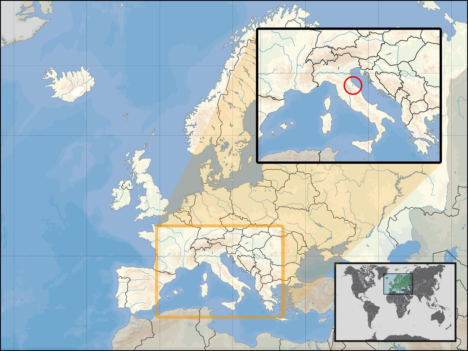 Сан-Марино на карте мира