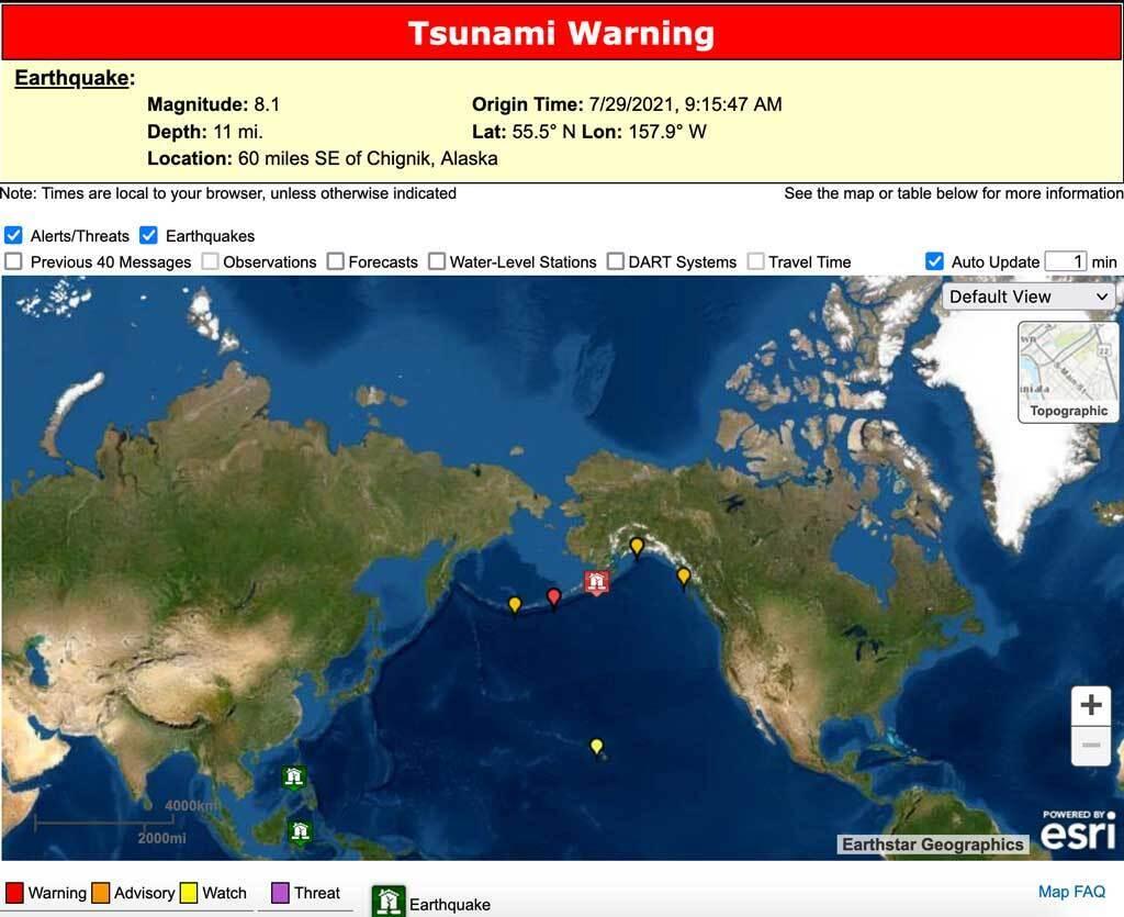 На Аляске произошло землетрясение магнитудой более 8 баллов.