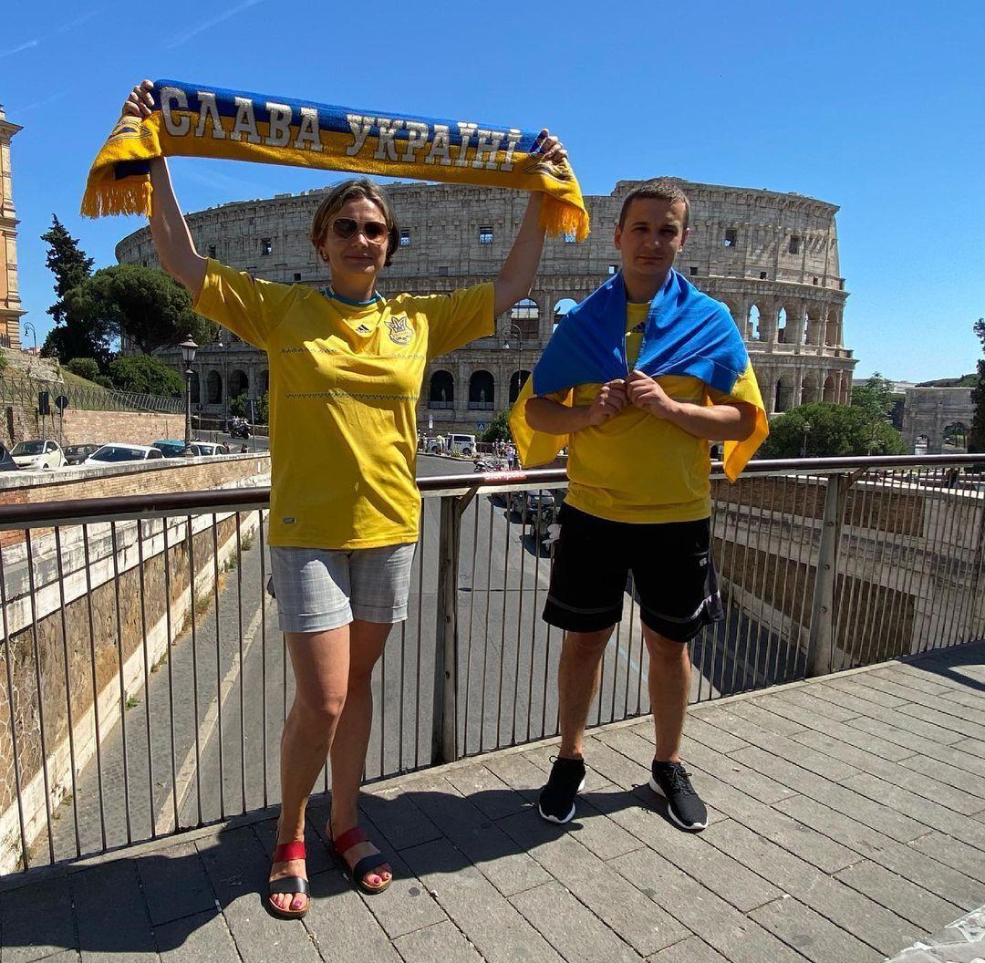 Українські фанати в Римі.
