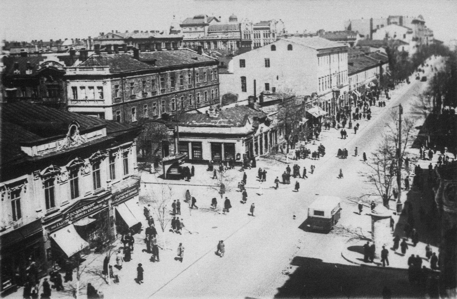Вид на улицу сверху, средина XIX века
