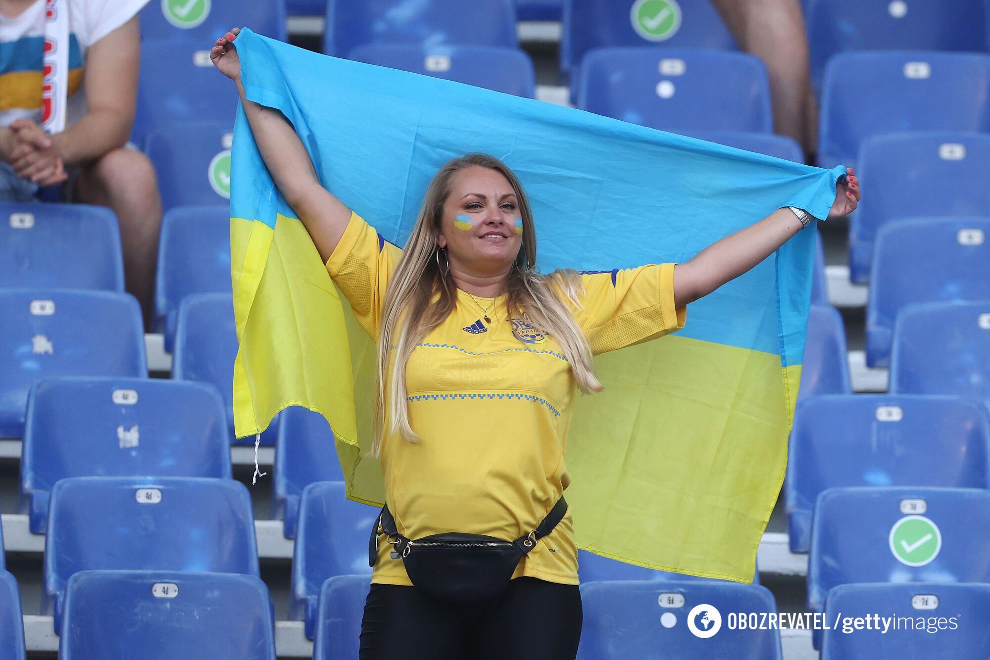 Украинская фанатка на матче в Риме