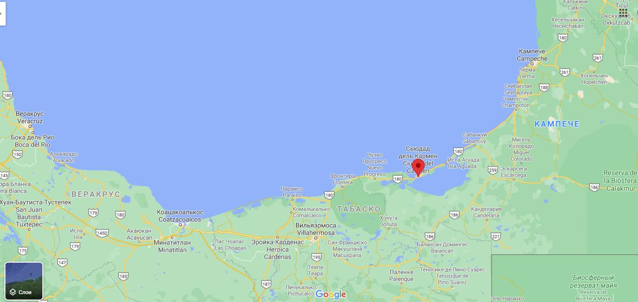Сьюдад-дель-Кармен на карте
