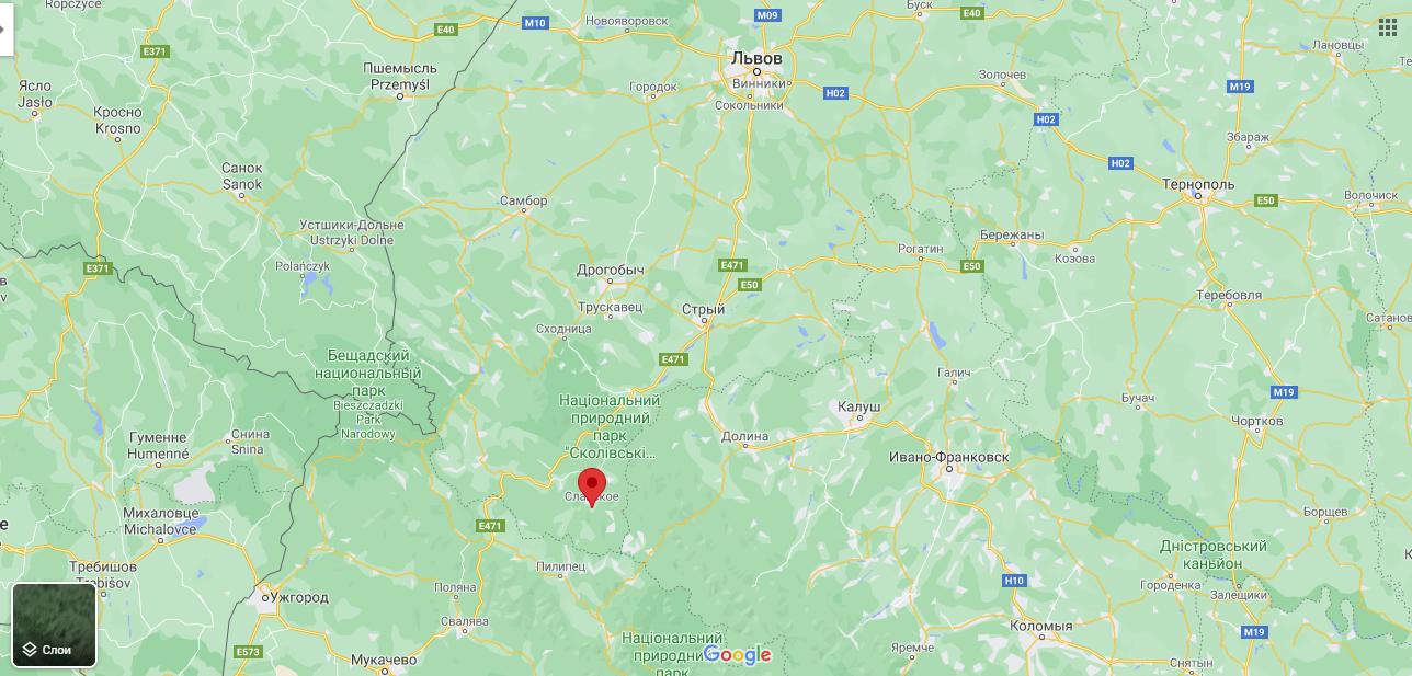Славське на мапі