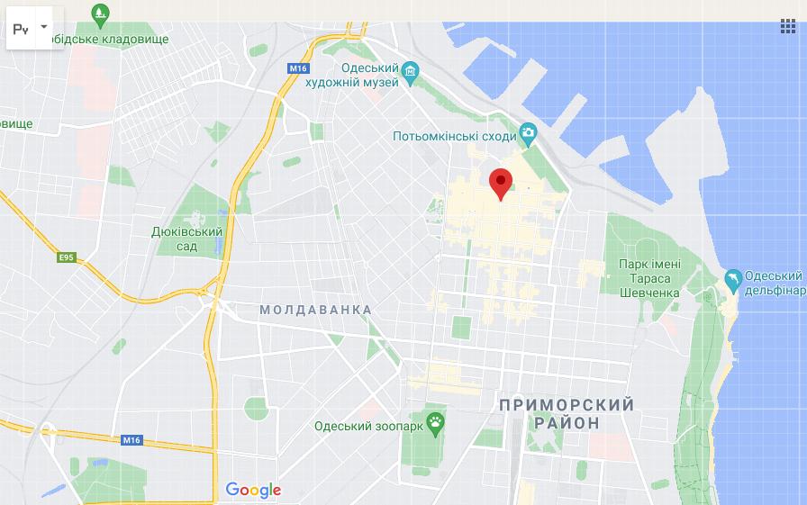 Улица на карте Одессы