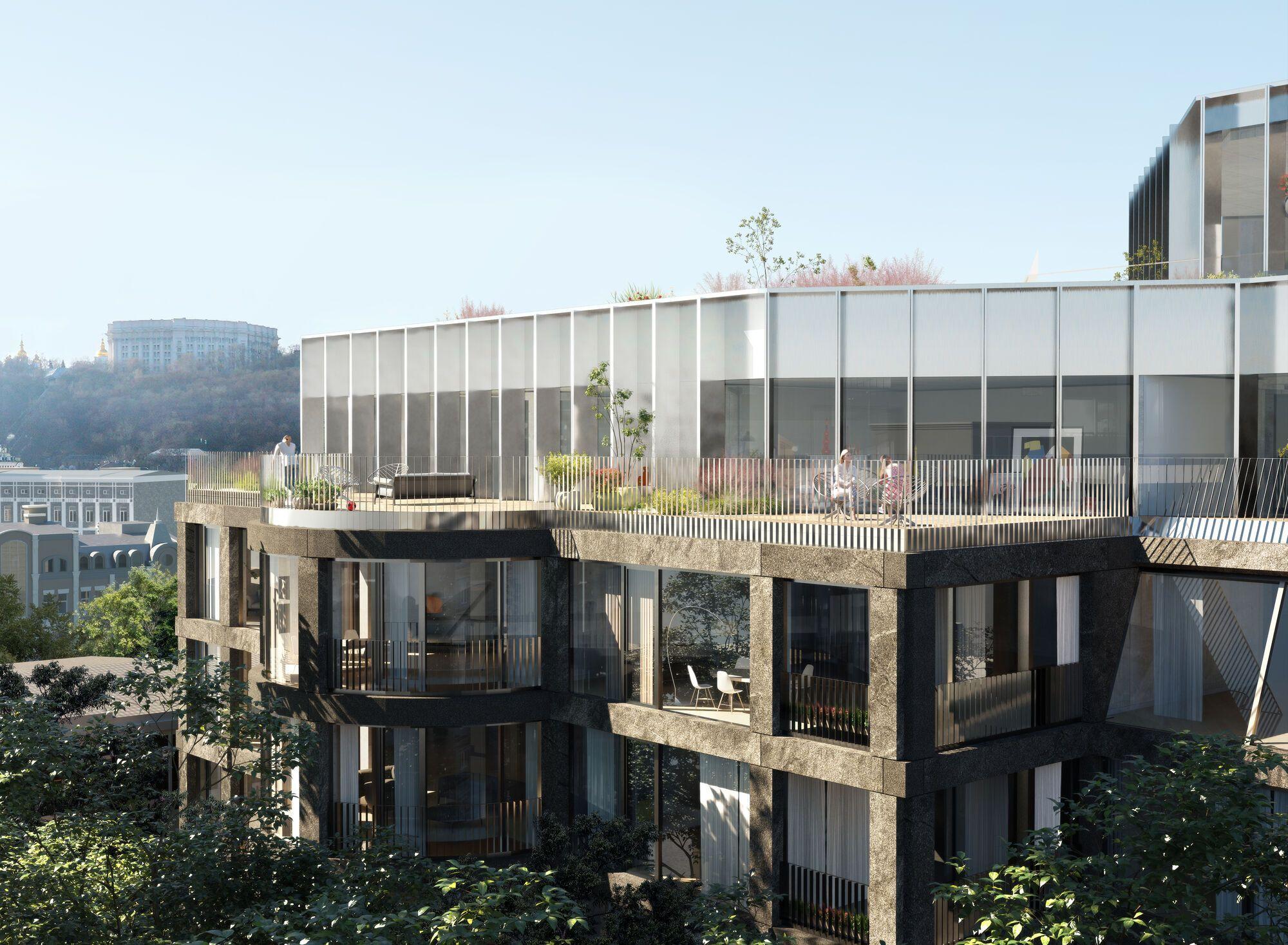 Жителям будут доступны общественные террасы, внутренняя площадь, подземный паркинг, ресторан с террасой на крыше