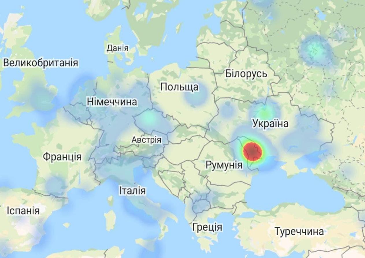 Карта с местами сбоя