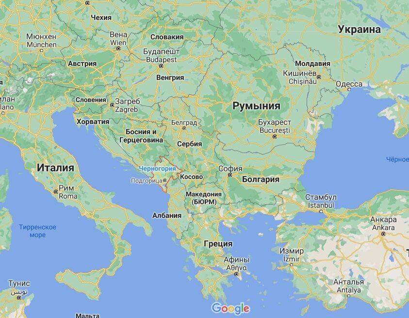 Черногория на карте.