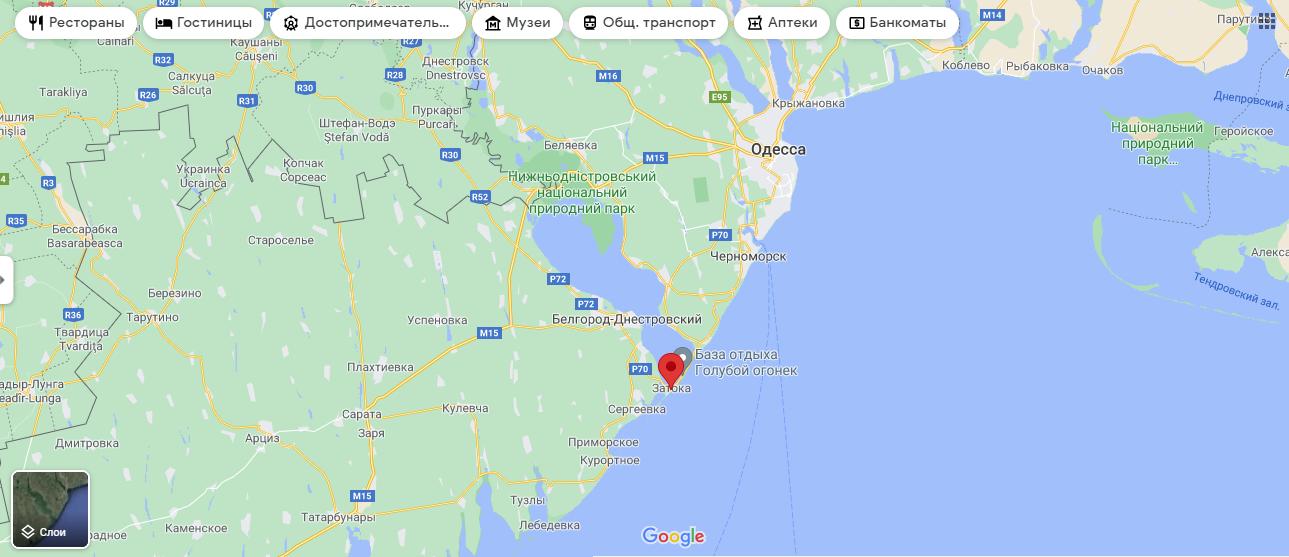 Затока на мапі