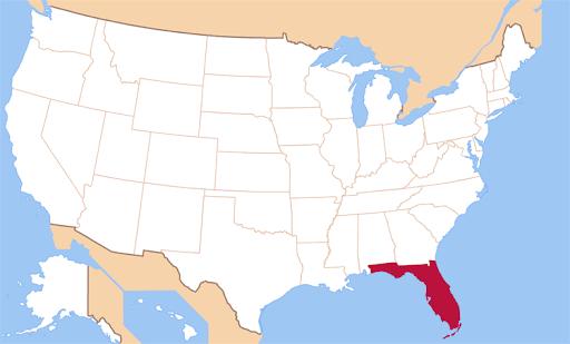Штат Флорида на мапі США.