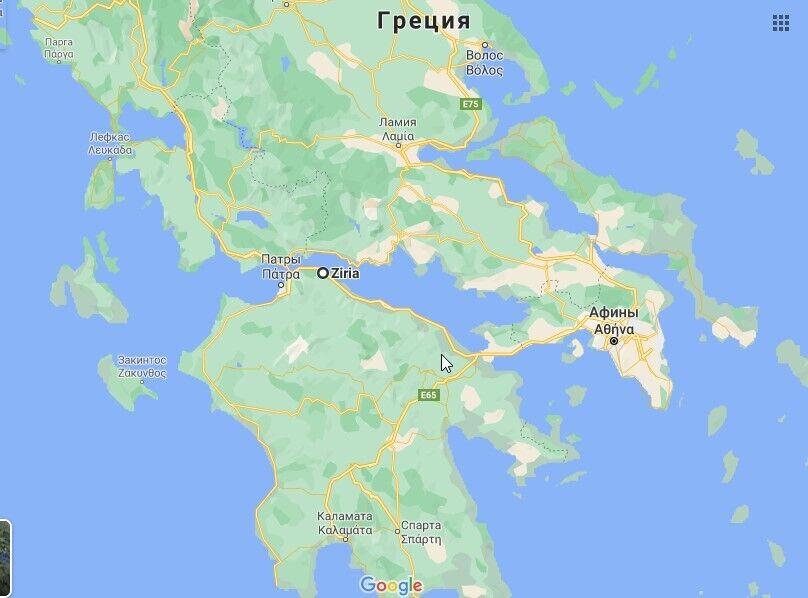 В деревне Зирия в Ахее, Греция вспыхнул пожар
