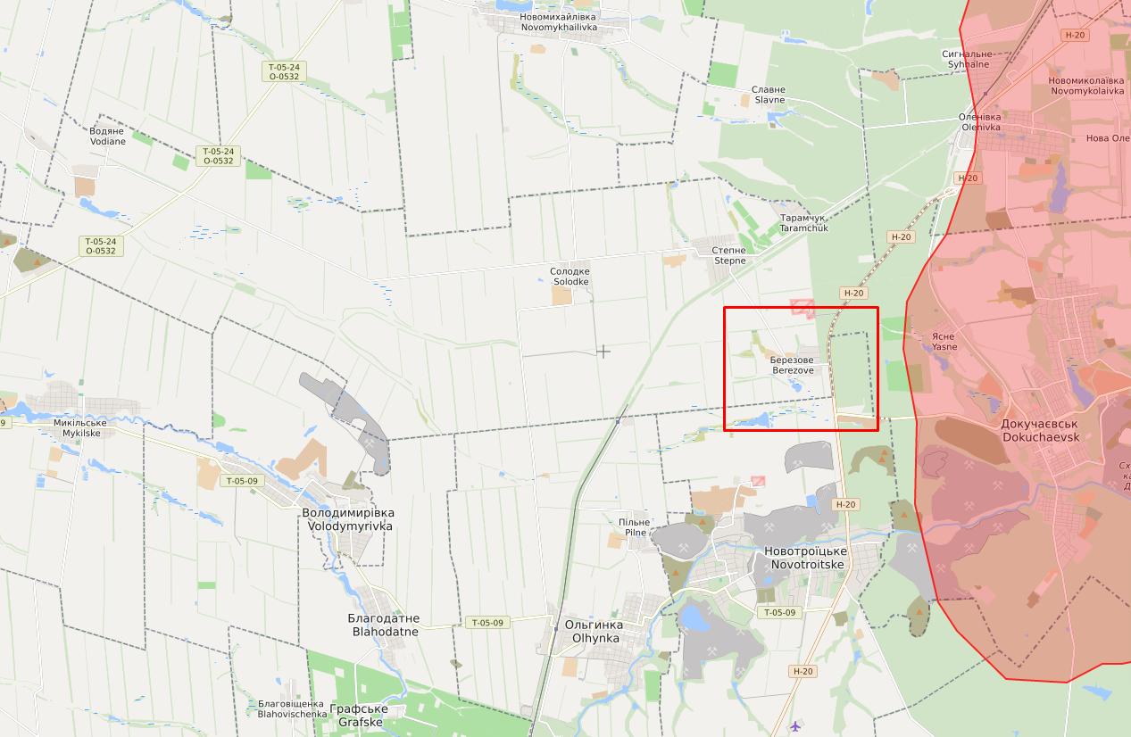 Обстріли в районі Березового.