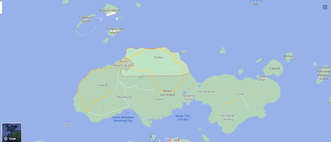 Остров Джоло на карте