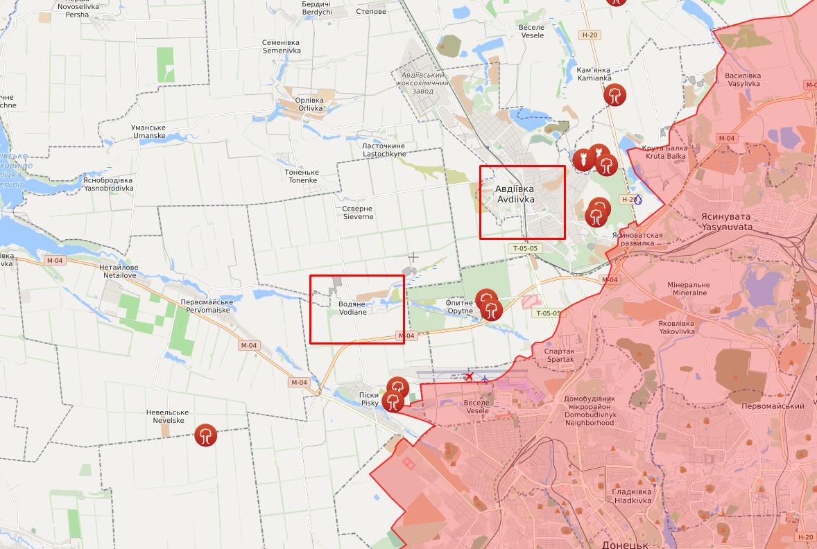 Обстріли в районі Водяного та Авдіївки.