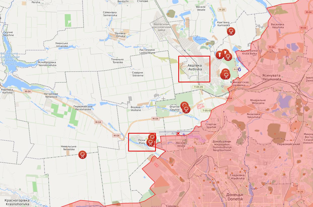 Обстріли в районі населених пунктів Піски й Авдіївка.