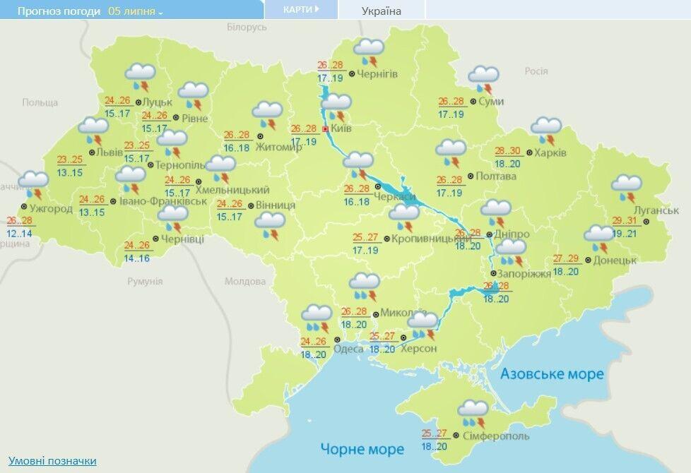 Прогноз погоди на 5 липня