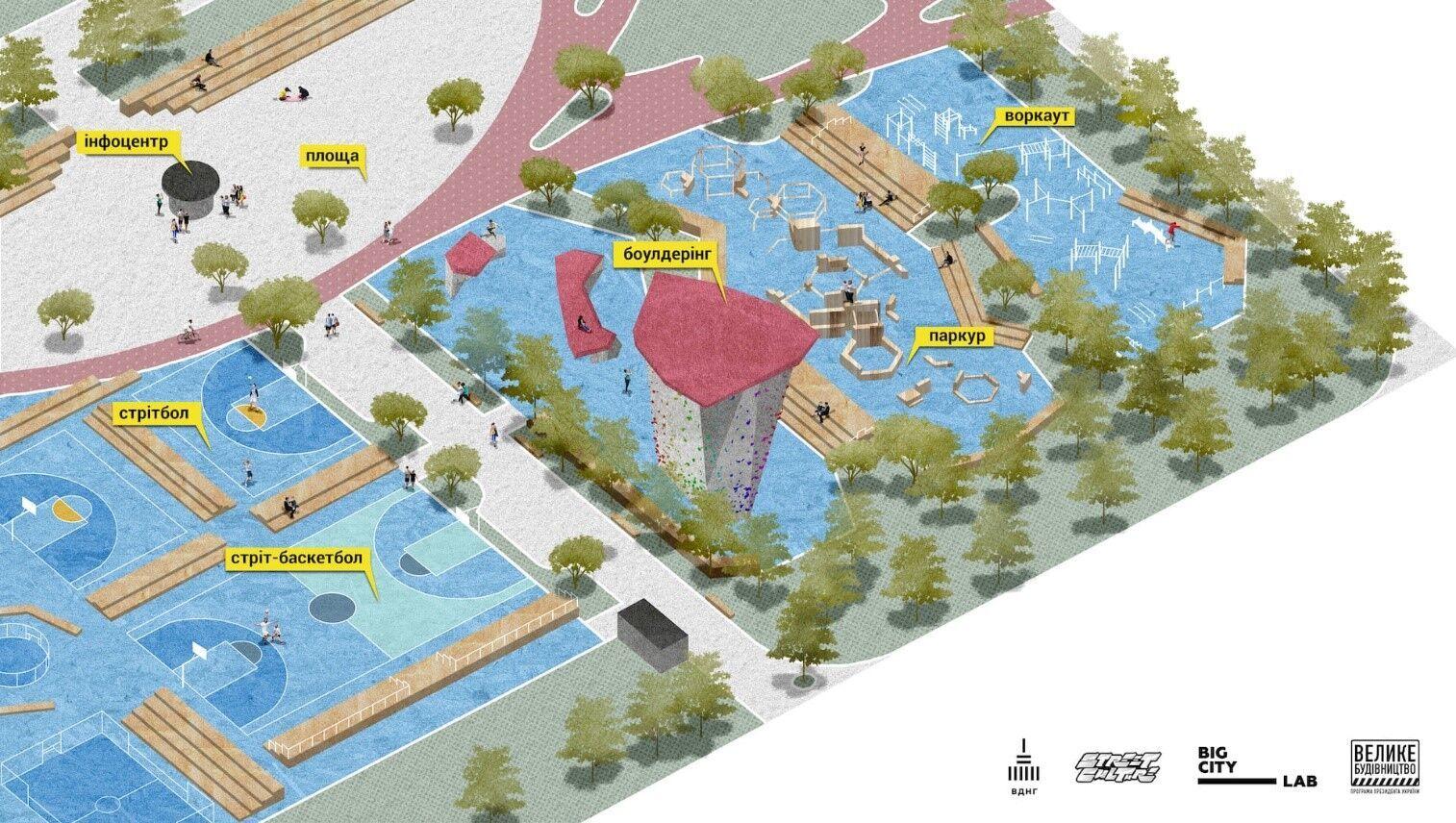 Парк будет разбит на зоны для различных видов спорта