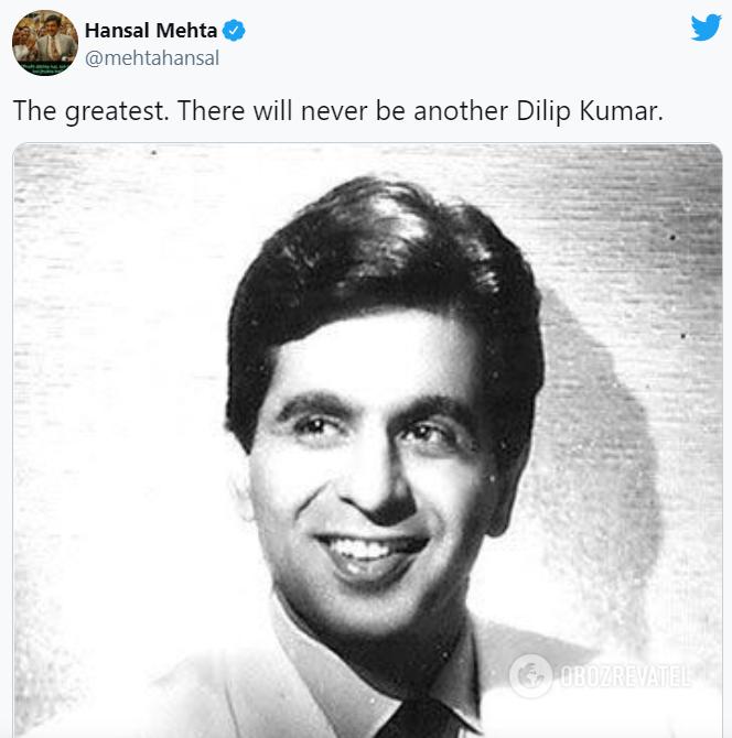 Помер знаменитий індійський актор Діліп Кумар.