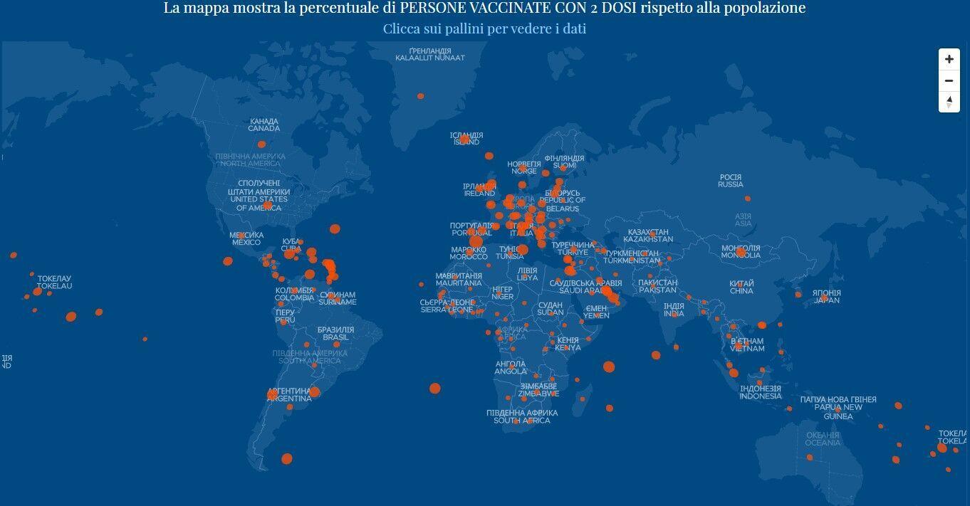 Дані щодо вакцинації проти коронавірусу в світі