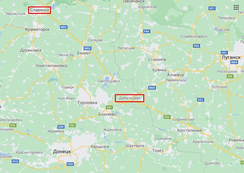 Слов'янськ та Дебальцеве на карті