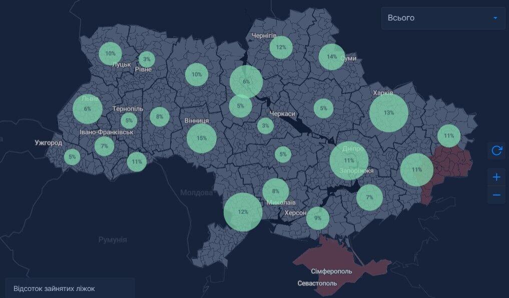 Процент занятых коек (всех типов) в регионах Украины