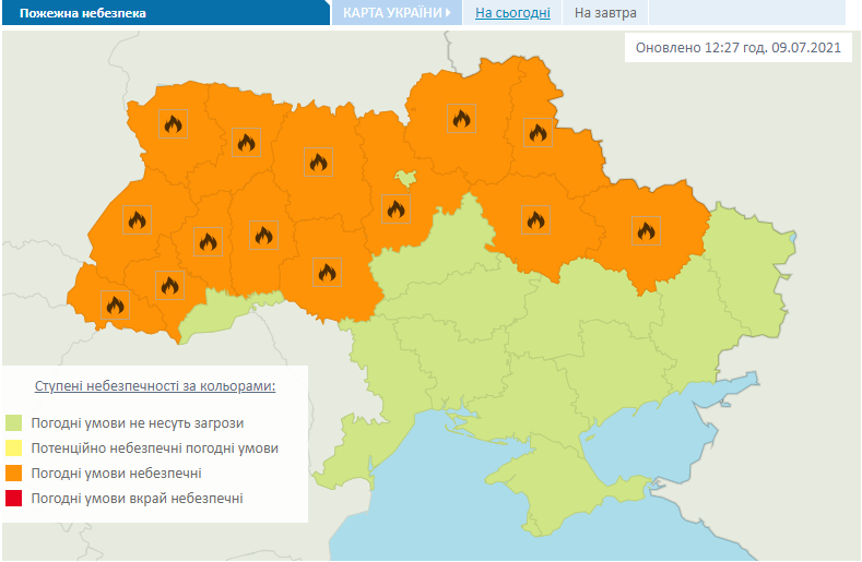 Попередження про небезпеку пожеж в Україні 10 липня.