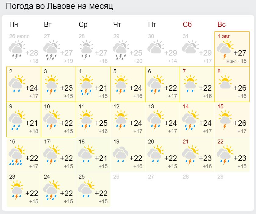 Погода в серпні у Львові