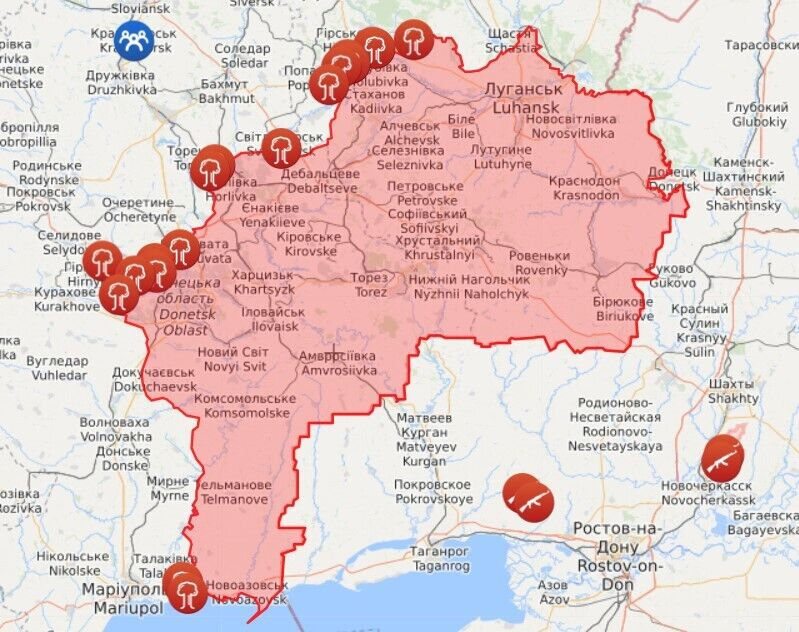 Карта обстрелов на Донетчине и Луганщине