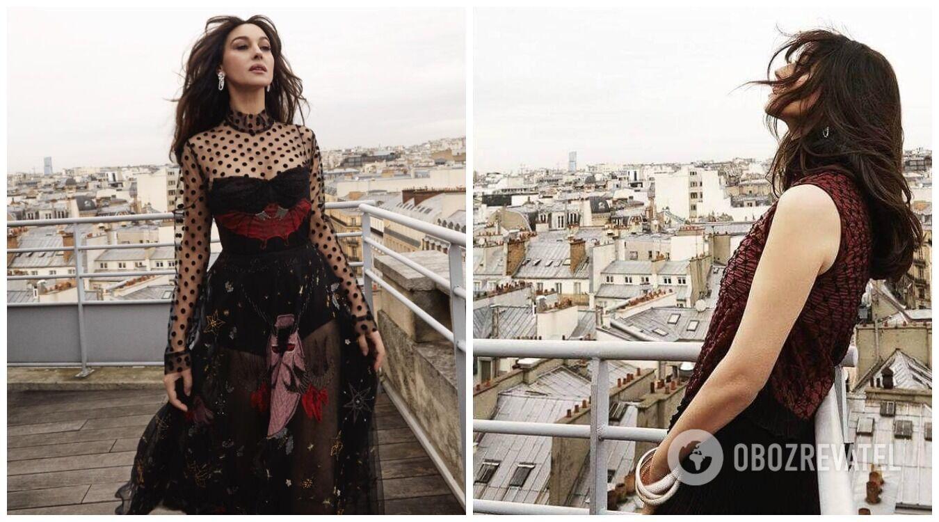Моника Беллуччи на фотосессии для бразильского журнала Caderno Ela — Jornal O Globo в платье LITKOVSKAYA