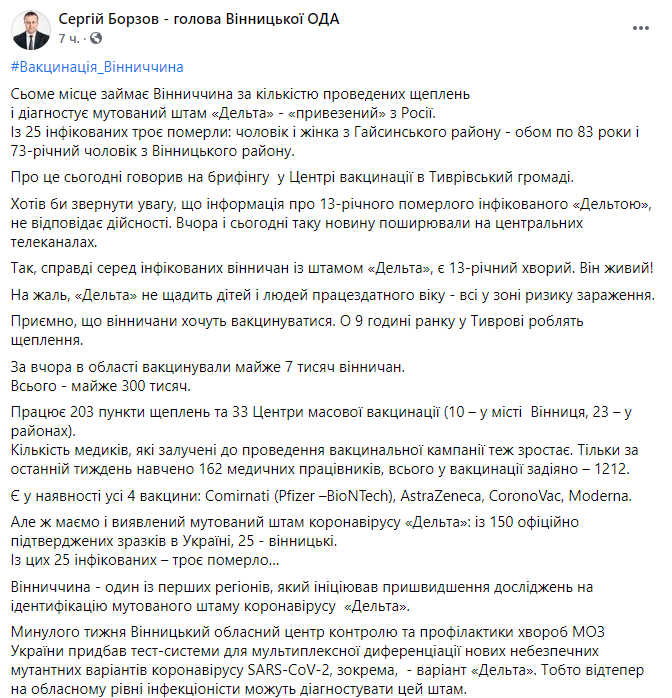 Пост Сергія Борзова.
