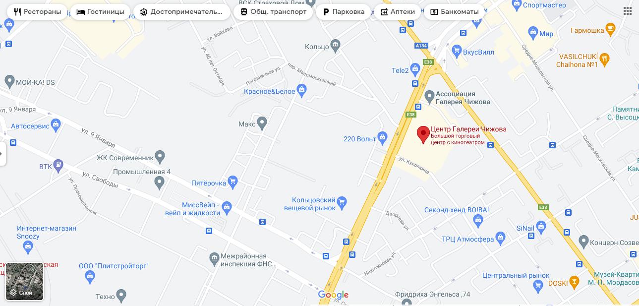 """""""Галерея Чижова"""" у Воронежі на мапі"""