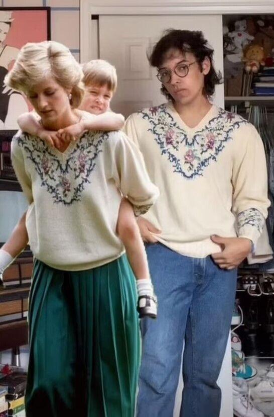 Принцеса Діана в спідниці і блузці.
