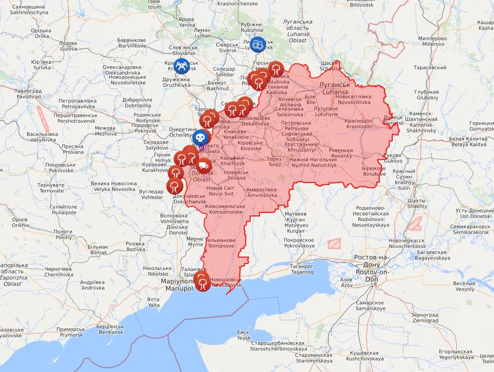 Карта обстрелов со стороны оккупантов на Донбассе.