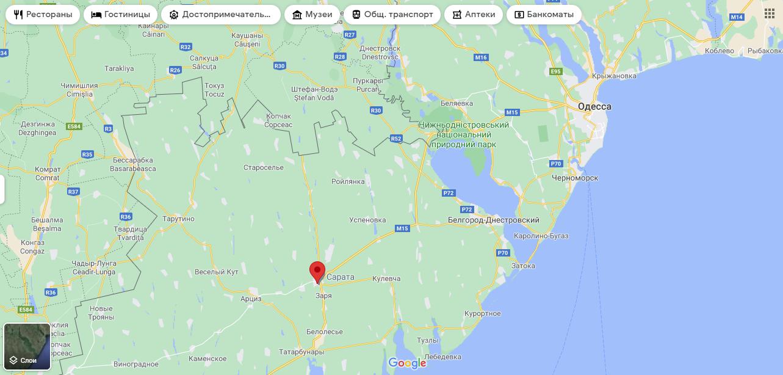 Смт Сарата на мапі