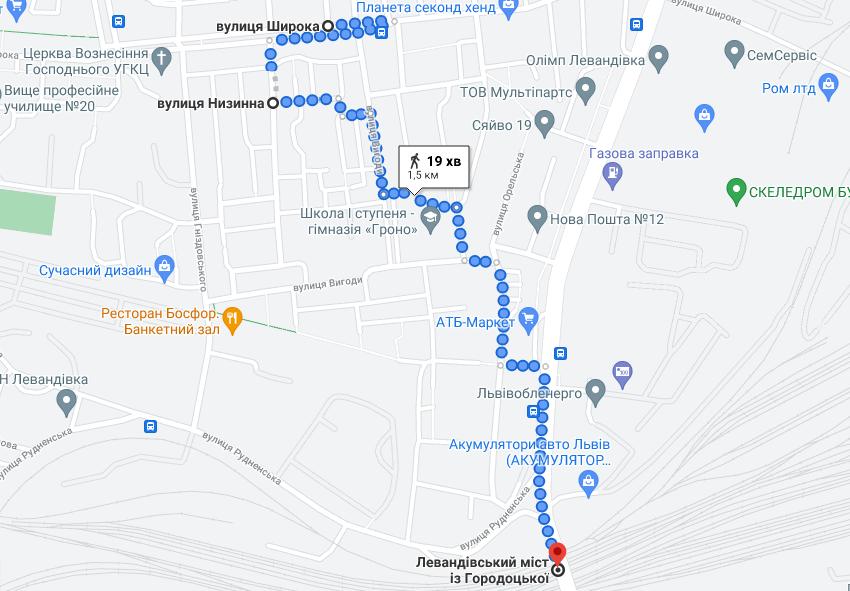 Скриншот карти Львова