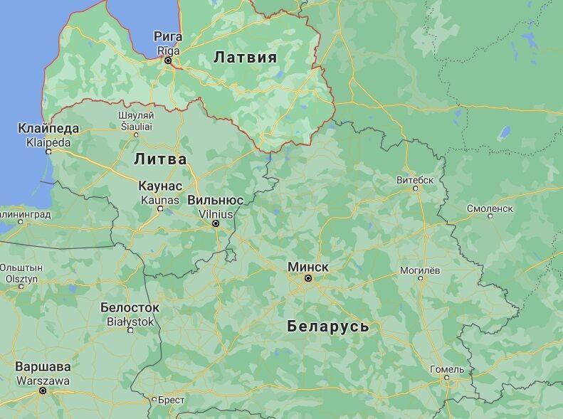 Кордон Латвії та Білорусі.