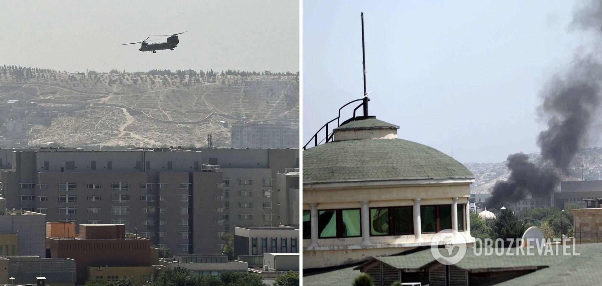 Американский вертолет над посольством США в Кабуле
