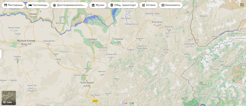 Місто Талукан на мапі