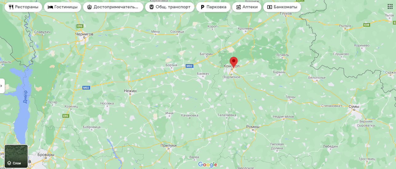 Конотоп на карте