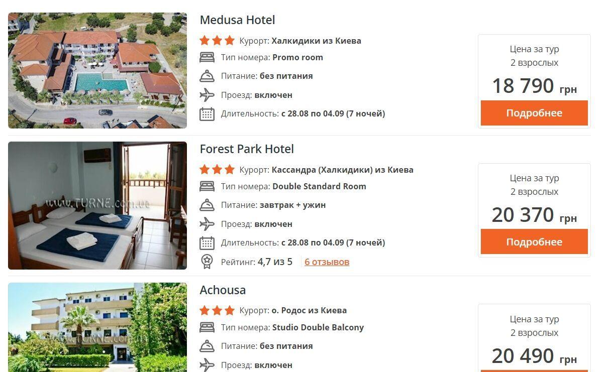 Семидневное пребывание в трехзвездочном отеле в Греции в сезон (август-сентябрь) обойдется двоим от 19 тысяч
