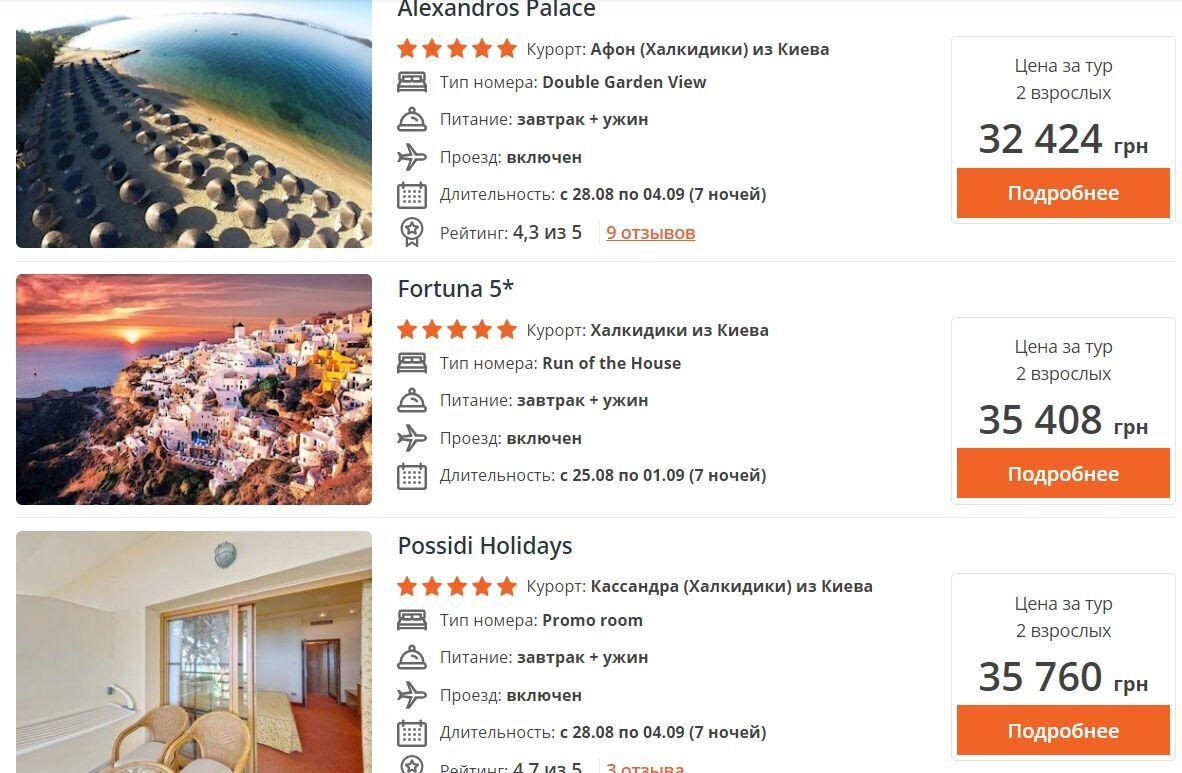В пятизвездочном рядом с пляжем цена уже будет составлять от 32 424 грн.