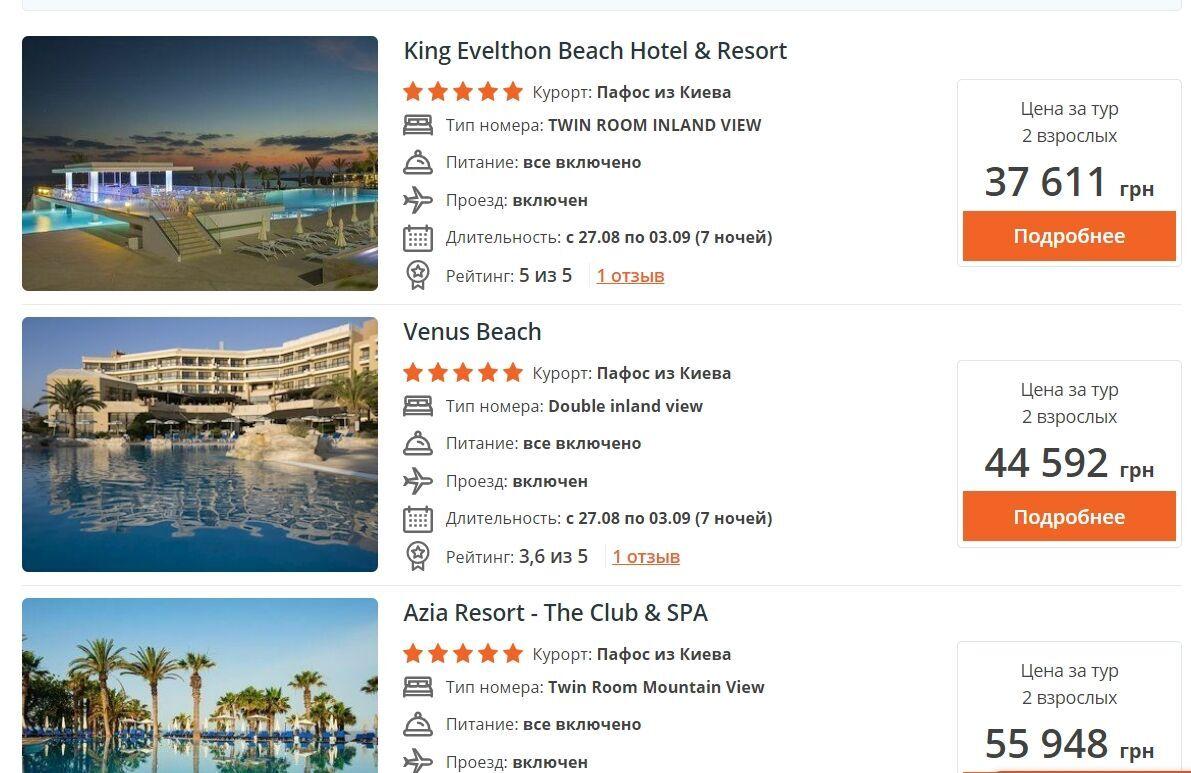 Пожить неделю в пятизвездочном отеле с полным питанием на Кипре можно от 37 тысяч гривен
