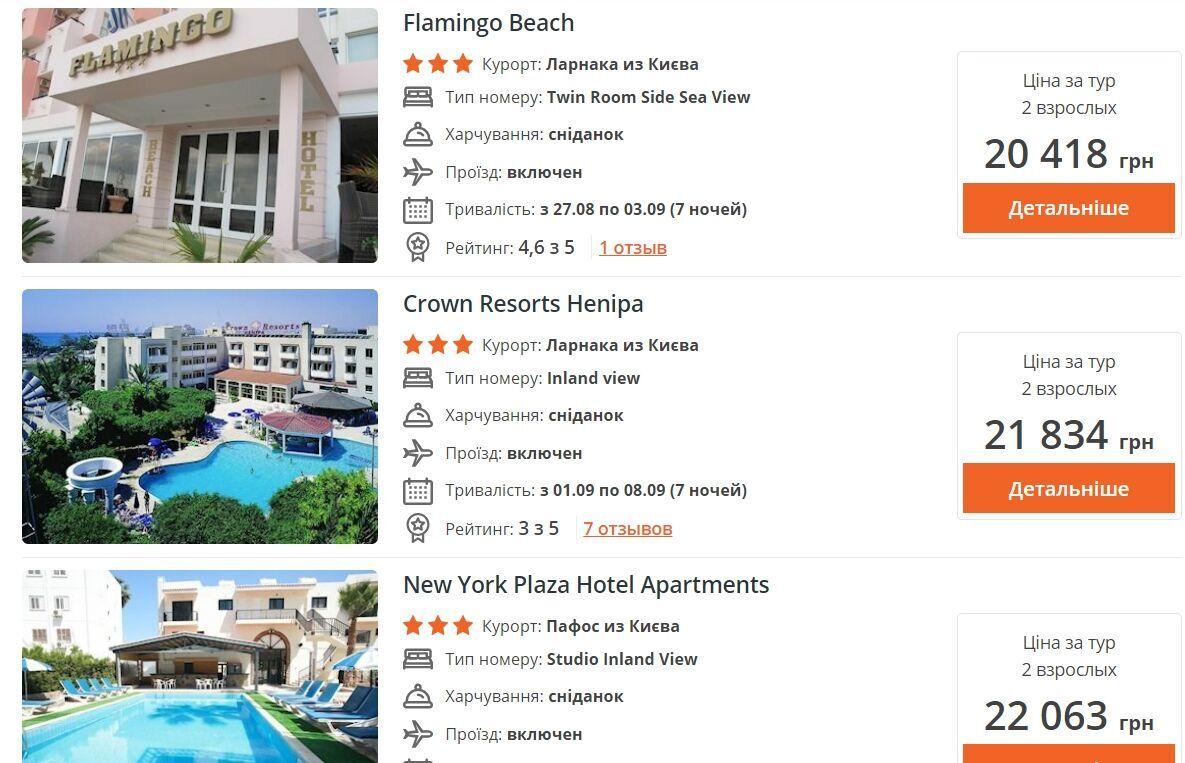 Путевки на 7 дней в бюджетные отели Кипра можно найти за 20 тысяч гривен