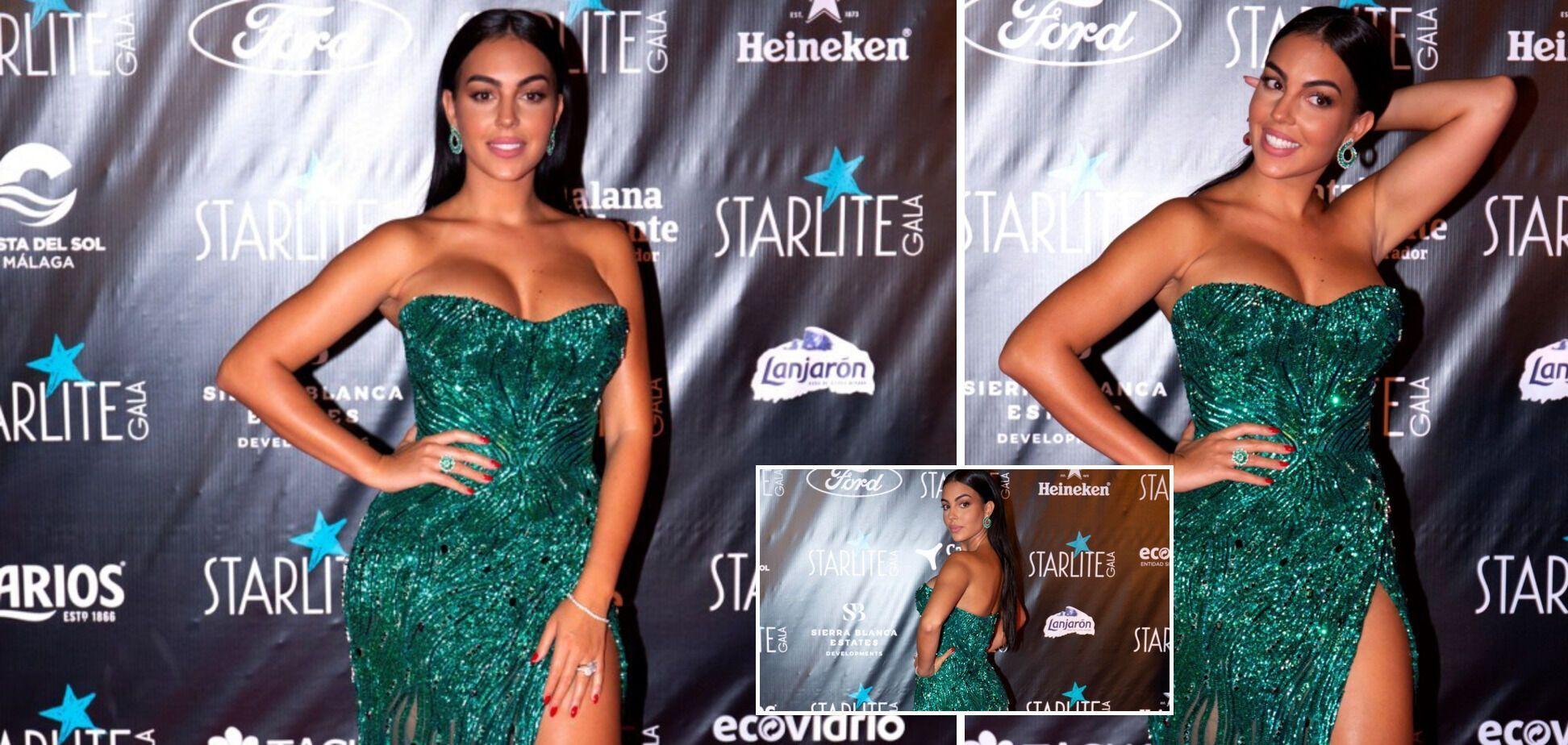Джорджина Родригес в зеленом платье