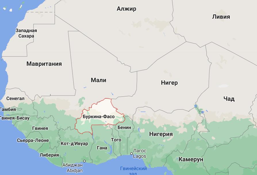 Буркіна-Фасо на карті світу.