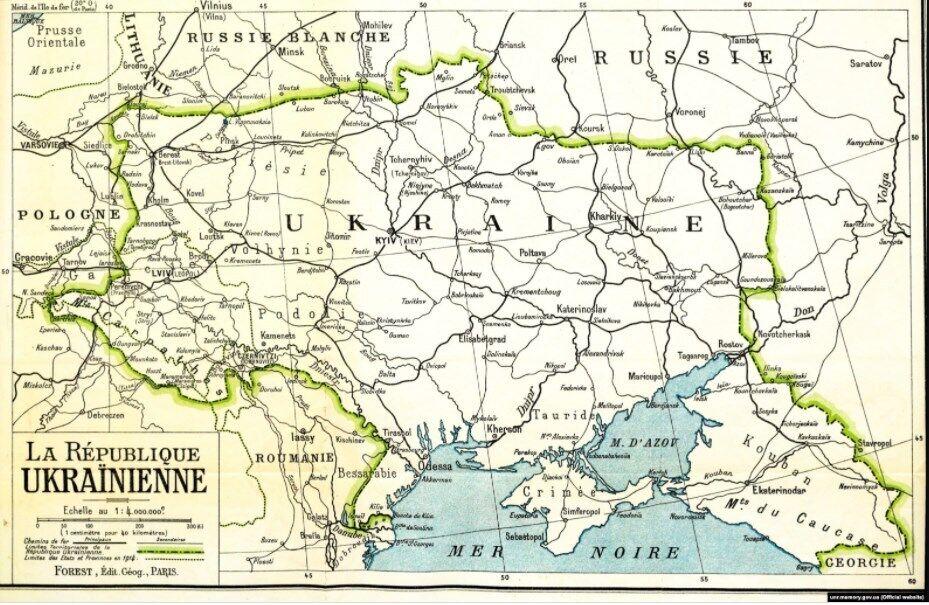 Мапа України, видана у Парижі в 1919 році